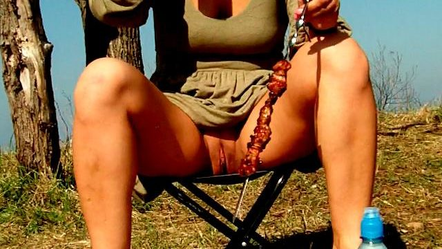 Engaging Brunette Novice Spouse Dasha Flashing Red Clunge Upskirt And Consuming Beer At A Picnic