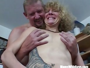 Platinum-blonde Inked Vulva Pierced Mature Plowed